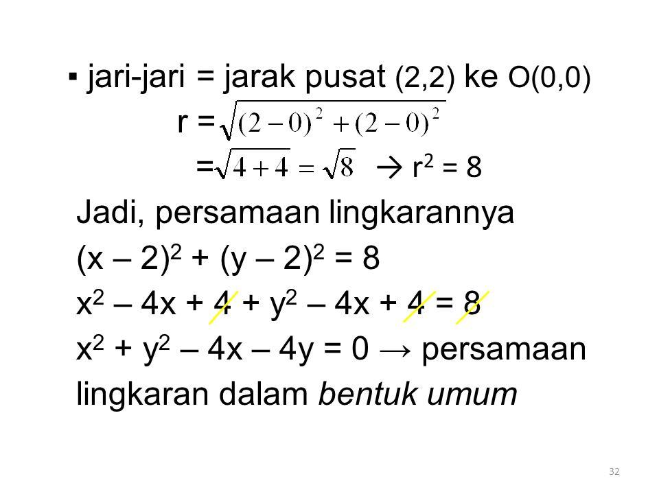 32 ▪ jari-jari = jarak pusat (2,2) ke O(0,0) r = = Jadi, persamaan lingkarannya (x – 2) 2 + (y – 2) 2 = 8 x 2 – 4x + 4 + y 2 – 4x + 4 = 8 x 2 + y 2 – 4x – 4y = 0 → persamaan lingkaran dalam bentuk umum → r 2 = 8
