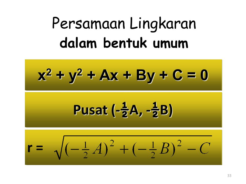 33 x 2 + y 2 + Ax + By + C = 0 Persamaan Lingkaran dalam bentuk umum Pusat (- ½ A, - ½ B) r =