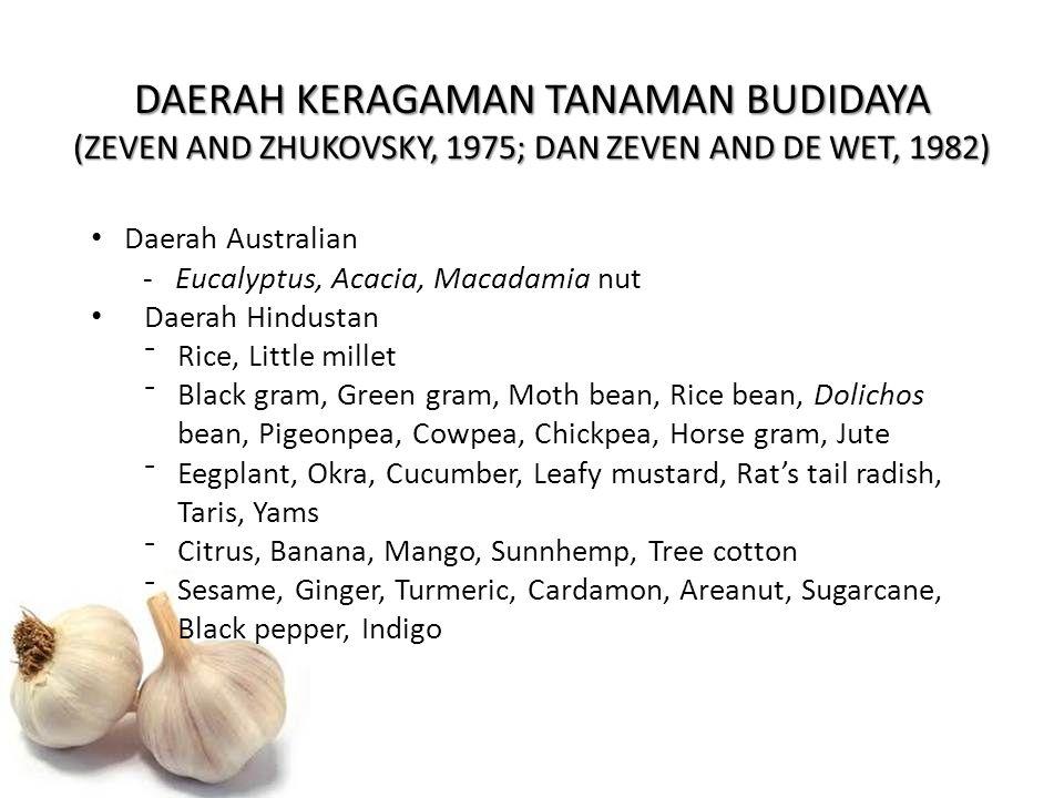 DAERAH KERAGAMAN TANAMAN BUDIDAYA (ZEVEN AND ZHUKOVSKY, 1975; DAN ZEVEN AND DE WET, 1982) Daerah Australian -Eucalyptus, Acacia, Macadamia nut Daerah