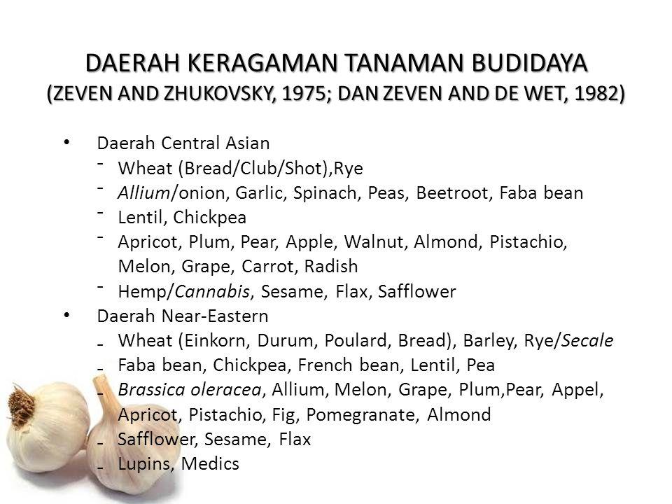 DAERAH KERAGAMAN TANAMAN BUDIDAYA (ZEVEN AND ZHUKOVSKY, 1975; DAN ZEVEN AND DE WET, 1982) Daerah Central Asian ⁻Wheat (Bread/Club/Shot),Rye ⁻Allium/on
