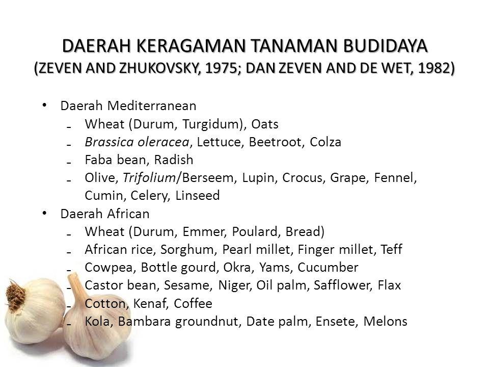 DAERAH KERAGAMAN TANAMAN BUDIDAYA (ZEVEN AND ZHUKOVSKY, 1975; DAN ZEVEN AND DE WET, 1982) Daerah Mediterranean ₋Wheat (Durum, Turgidum), Oats ₋Brassic