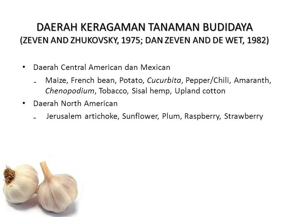 DAERAH KERAGAMAN TANAMAN BUDIDAYA (ZEVEN AND ZHUKOVSKY, 1975; DAN ZEVEN AND DE WET, 1982) Daerah Central American dan Mexican ₋Maize, French bean, Pot