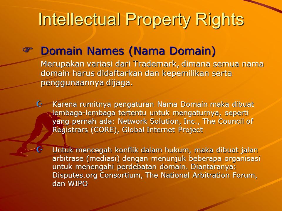 Intellectual Property Rights  Domain Names (Nama Domain) Merupakan variasi dari Trademark, dimana semua nama domain harus didaftarkan dan kepemilikan