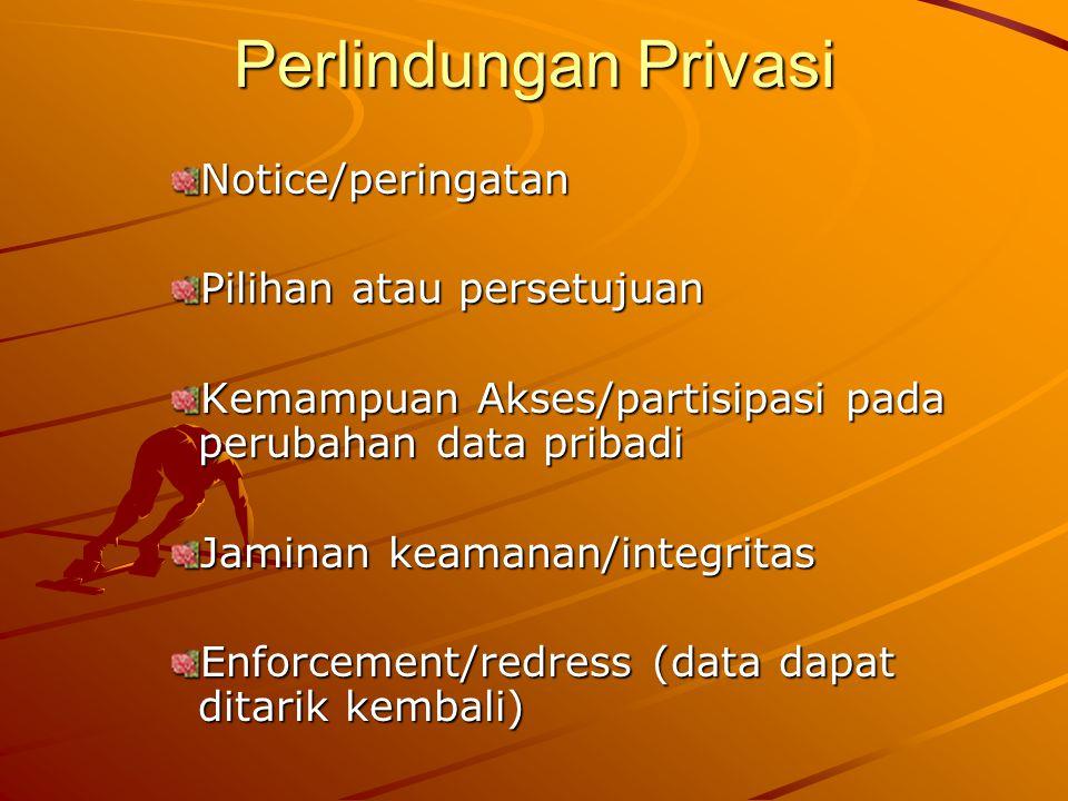 Perlindungan Privasi Notice/peringatan Pilihan atau persetujuan Kemampuan Akses/partisipasi pada perubahan data pribadi Jaminan keamanan/integritas En