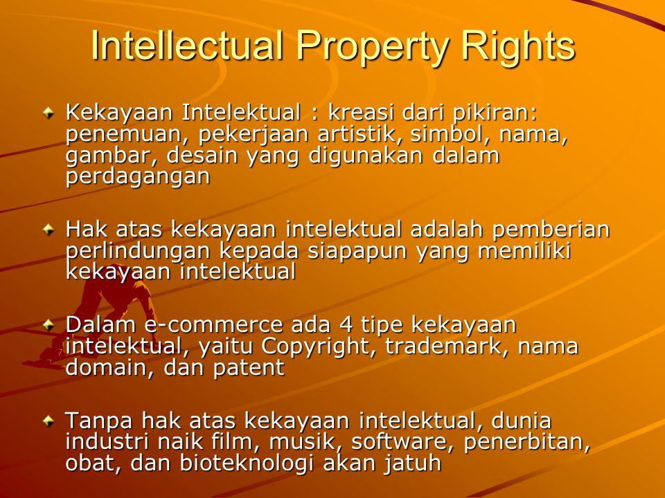 Intellectual Property Rights 1.Copyright adalah pemberian hak-hak khusus dari pemerintah kepada pemilik kekayaan intelektual untuk:  Memproduksi ulang sebuah pekerjaan, seluruh atau sebagian  Mendistribusikan, menunjukkan, atau memasangnya kepada publik dalam bentuk apapun termasuk internet Pelanggaran copyright bisa terjadi dalam bentuk mendownload musik, video, games, software dan produk-produk digital lainnya secara ilegal