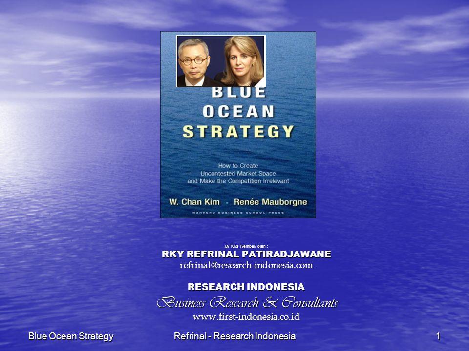 Blue Ocean StrategyRefrinal - Research Indonesia12 STRATEGI SAMUDERA MERAH VS SAMUDERA BIRU STRATEGI SAMUDERA MERAH STRATEGI SAMUDERA BIRU Bersaing dalam ruang pasar yang sudah ada Menciptakan ruang pasar yang belum ada pesaingnya Memenangkan kompetisi Menjadikan kompetisi tidak lagi relevan Mengeksploitasi permintaan yang ada Menciptakan dan menagkap permintaan baru Memilih antara nilai dan biaya Mendobrak pertukaran nilai dan budaya Memadukan keseluruhan sistem kegiatan perusahaan dengan pilihan strategis antara differensiasi dan biaya rendah Memadukan keseluruhan sistem kegiatan perusahaan dalam mengejar differensiasi
