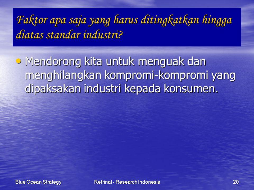 Blue Ocean StrategyRefrinal - Research Indonesia20 Faktor apa saja yang harus ditingkatkan hingga diatas standar industri? Mendorong kita untuk mengua