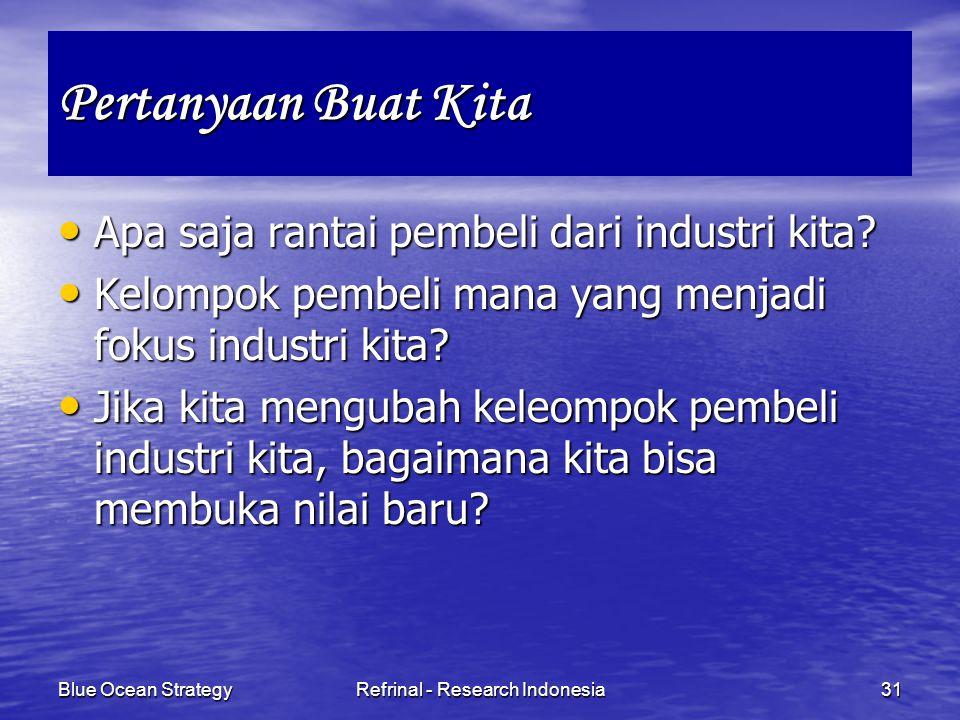 Blue Ocean StrategyRefrinal - Research Indonesia31 Pertanyaan Buat Kita Apa saja rantai pembeli dari industri kita? Apa saja rantai pembeli dari indus