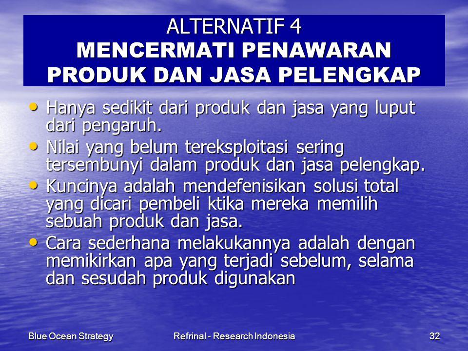 Blue Ocean StrategyRefrinal - Research Indonesia32 ALTERNATIF 4 MENCERMATI PENAWARAN PRODUK DAN JASA PELENGKAP Hanya sedikit dari produk dan jasa yang