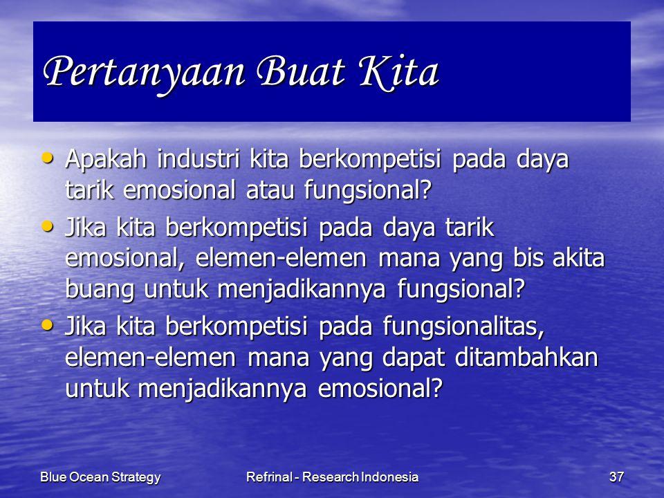Blue Ocean StrategyRefrinal - Research Indonesia37 Pertanyaan Buat Kita Apakah industri kita berkompetisi pada daya tarik emosional atau fungsional? A
