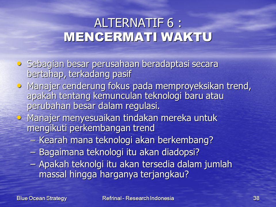 Blue Ocean StrategyRefrinal - Research Indonesia38 ALTERNATIF 6 : MENCERMATI WAKTU Sebagian besar perusahaan beradaptasi secara bertahap, terkadang pa