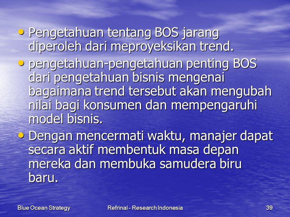 Blue Ocean StrategyRefrinal - Research Indonesia39 Pengetahuan tentang BOS jarang diperoleh dari meproyeksikan trend. Pengetahuan tentang BOS jarang d
