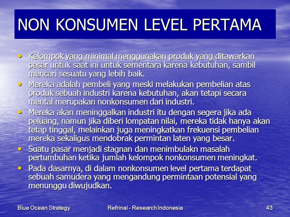 Blue Ocean StrategyRefrinal - Research Indonesia43 NON KONSUMEN LEVEL PERTAMA Kelompok yang minimal menggunakan produk yang ditawarkan pasar untuk saa