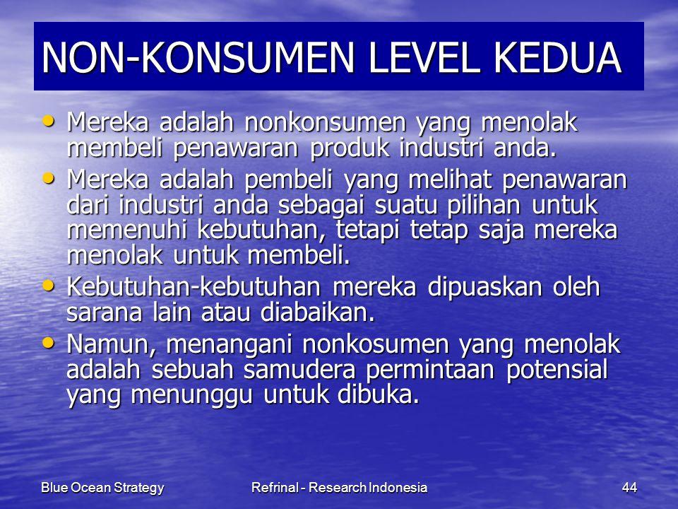 Blue Ocean StrategyRefrinal - Research Indonesia44 NON-KONSUMEN LEVEL KEDUA Mereka adalah nonkonsumen yang menolak membeli penawaran produk industri a