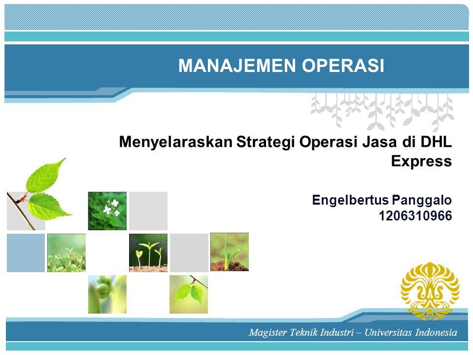 Menyelaraskan Strategi Operasi Jasa di DHL Express Engelbertus Panggalo 1206310966 Magister Teknik Industri – Universitas Indonesia MANAJEMEN OPERASI