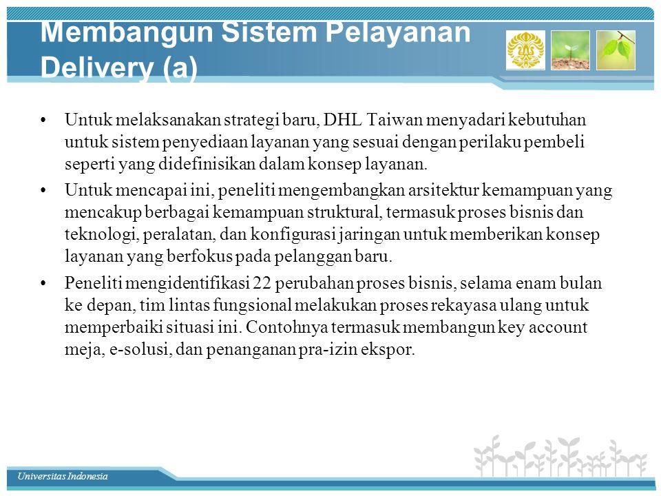 Universitas Indonesia Membangun Sistem Pelayanan Delivery (a) Untuk melaksanakan strategi baru, DHL Taiwan menyadari kebutuhan untuk sistem penyediaan layanan yang sesuai dengan perilaku pembeli seperti yang didefinisikan dalam konsep layanan.