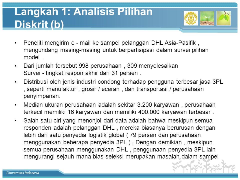 Universitas Indonesia Langkah 1: Analisis Pilihan Diskrit (b) Peneliti mengirim e - mail ke sampel pelanggan DHL Asia-Pasifik, mengundang masing-masing untuk berpartisipasi dalam survei pilihan model.