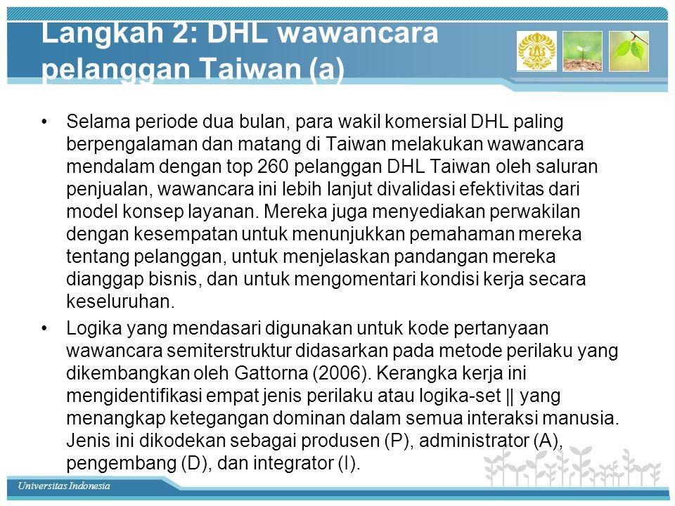 Universitas Indonesia Langkah 2: DHL wawancara pelanggan Taiwan (a) Selama periode dua bulan, para wakil komersial DHL paling berpengalaman dan matang di Taiwan melakukan wawancara mendalam dengan top 260 pelanggan DHL Taiwan oleh saluran penjualan, wawancara ini lebih lanjut divalidasi efektivitas dari model konsep layanan.