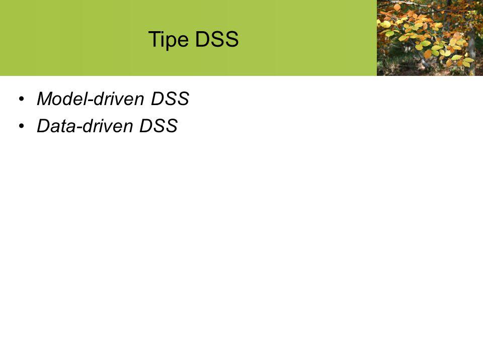 Model-driven DSS suatu sistem yang berdiri sendiri terpisah dari sistem informasi organisasi secara keseluruhan Kemampuan analisis dari DSS ini umumnya dikembangkan berdasarkan model atau teori