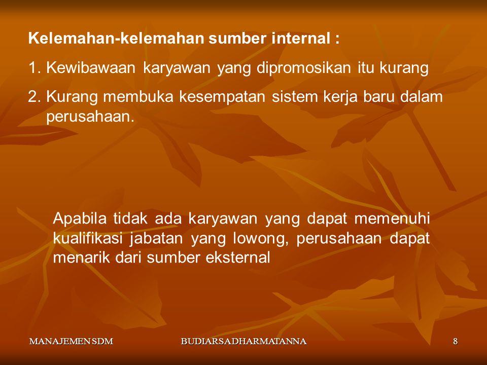 MANAJEMEN SDMBUDIARSA DHARMATANNA7 Kebaikan-kebaikan sumber internal : 1)Meningkatkan moral kerja dan kedisiplinan karyawan, karena ada kesempatan pro