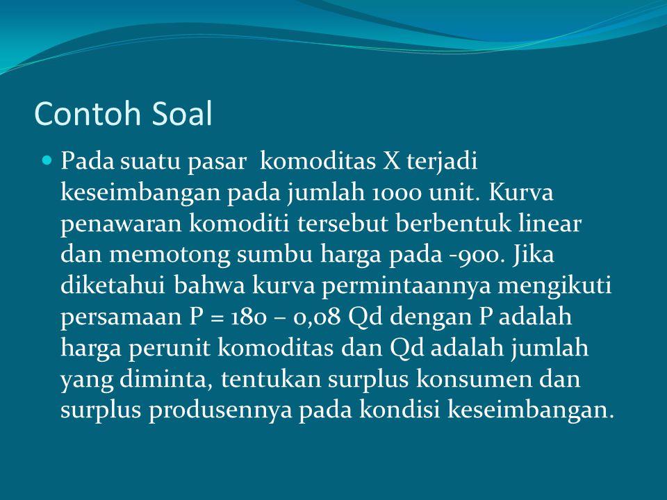 Contoh Soal Pada suatu pasar komoditas X terjadi keseimbangan pada jumlah 1000 unit. Kurva penawaran komoditi tersebut berbentuk linear dan memotong s