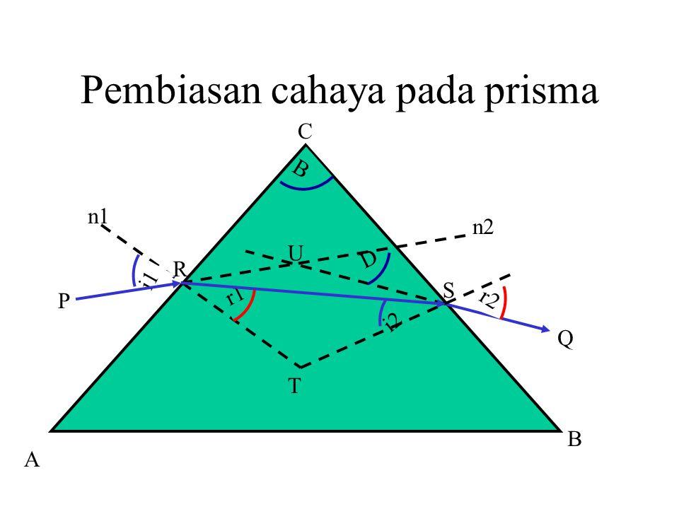 Pembiasan cahaya pada prisma A i1 i2 r1 r2 D T R Q P n1 n2 B S U B C