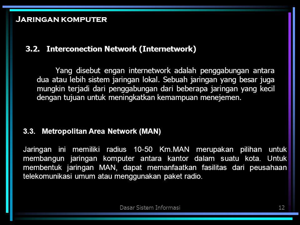 Dasar Sistem Informasi12 Jaringan komputer 3.2. Interconection Network (Internetwork) Yang disebut engan internetwork adalah penggabungan antara dua a