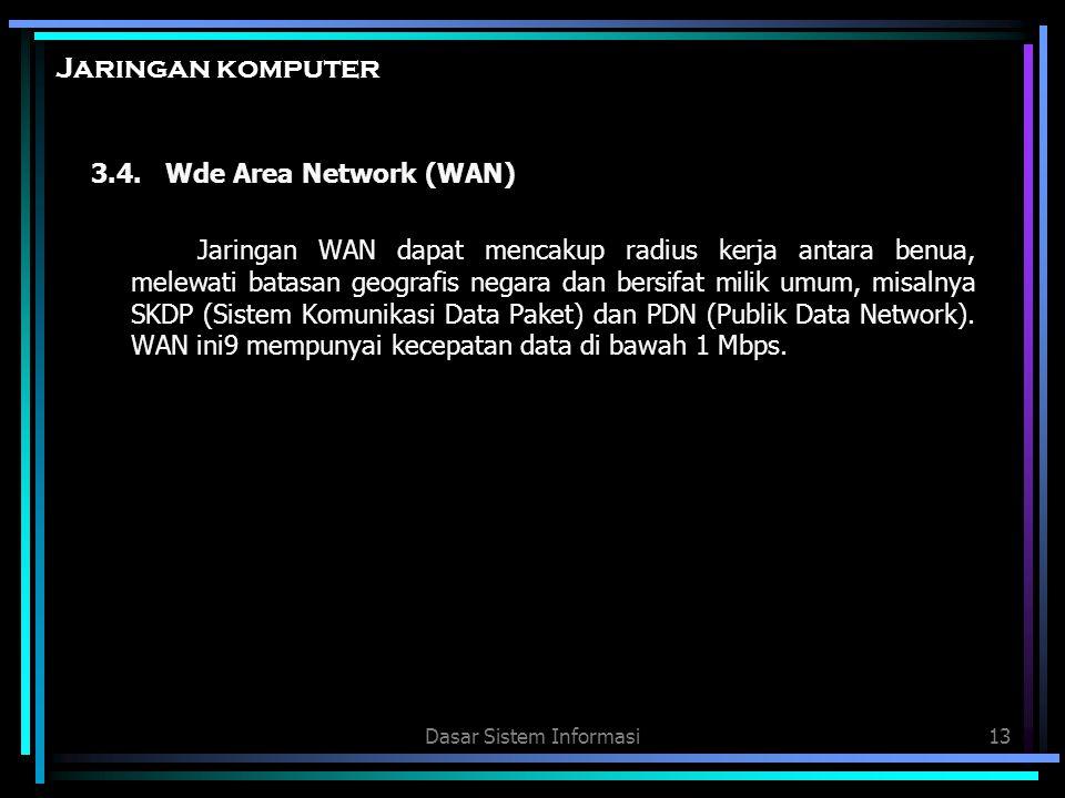 Dasar Sistem Informasi13 Jaringan komputer 3.4. Wde Area Network (WAN) Jaringan WAN dapat mencakup radius kerja antara benua, melewati batasan geograf