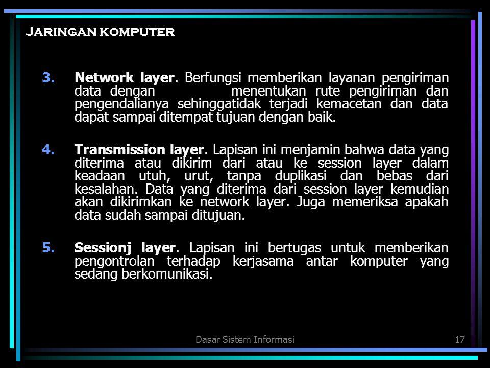 Dasar Sistem Informasi17 Jaringan komputer 3.Network layer. Berfungsi memberikan layanan pengiriman data dengan menentukan rute pengiriman dan pengend