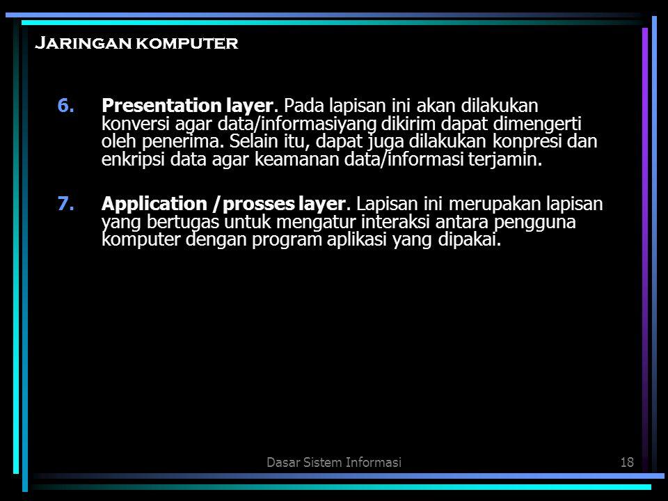 Dasar Sistem Informasi18 Jaringan komputer 6.Presentation layer. Pada lapisan ini akan dilakukan konversi agar data/informasiyang dikirim dapat dimeng
