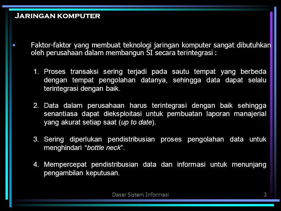 Dasar Sistem Informasi4 Jaringan komputer 5.Jaringan komputer memungkinkan beberapa komputer untuk saling memanfaatkan sumberdaya yang ada seperti printer, hard disk, dan peripheral lainya sehingga dapat menekan pengeluaran dan meningkatkan efektivitas dari penggunaan sumberdaya tersebut.