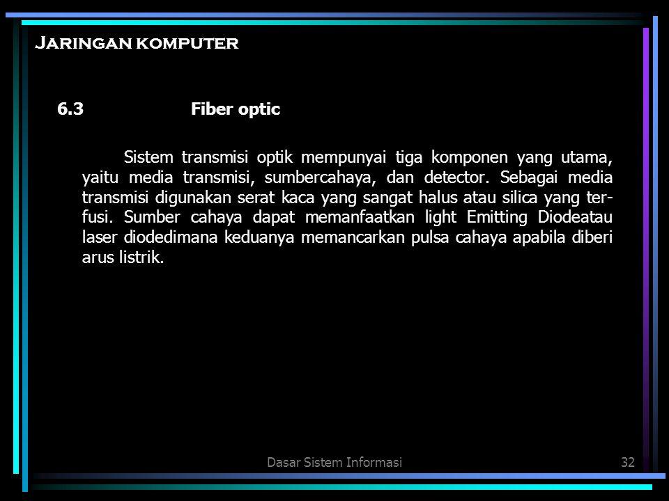 Dasar Sistem Informasi32 Jaringan komputer 6.3Fiber optic Sistem transmisi optik mempunyai tiga komponen yang utama, yaitu media transmisi, sumbercaha
