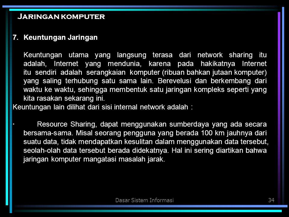 Dasar Sistem Informasi34 Jaringan komputer 7.Keuntungan Jaringan Keuntungan utama yang langsung terasa dari network sharing itu adalah, Internet yang