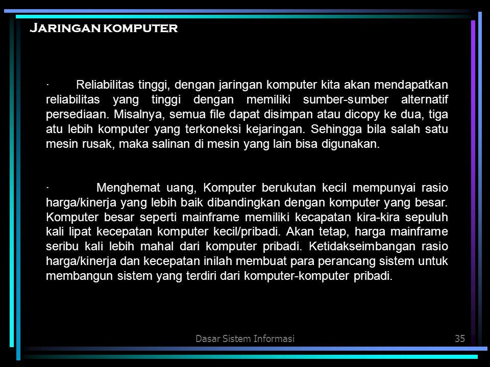 Dasar Sistem Informasi35 Jaringan komputer · Reliabilitas tinggi, dengan jaringan komputer kita akan mendapatkan reliabilitas yang tinggi dengan memil