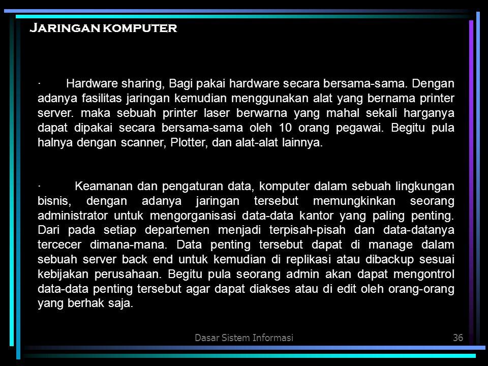 Dasar Sistem Informasi36 Jaringan komputer · Hardware sharing, Bagi pakai hardware secara bersama-sama. Dengan adanya fasilitas jaringan kemudian meng
