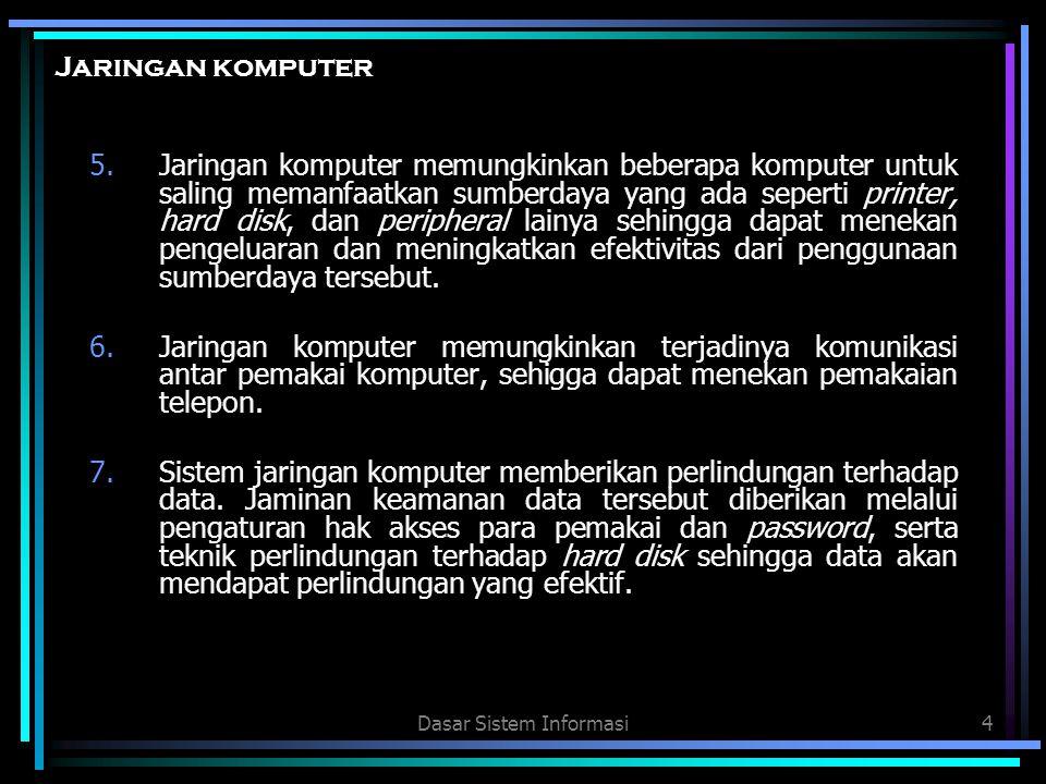Dasar Sistem Informasi4 Jaringan komputer 5.Jaringan komputer memungkinkan beberapa komputer untuk saling memanfaatkan sumberdaya yang ada seperti pri