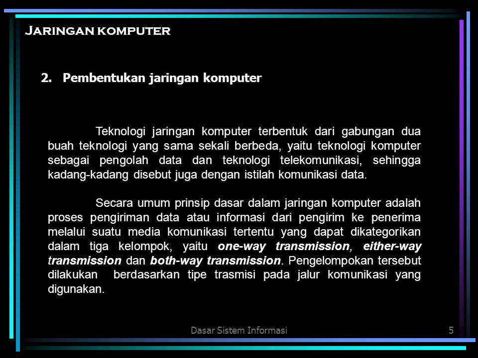Dasar Sistem Informasi6 Jaringan komputer 1.One-way transmission atau simplex adalh proses pengiriman data atau informasi dengan tipe transmisi satu arah sebagai contoh siaran radio dan televisi.