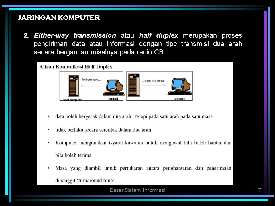 Dasar Sistem Informasi8 3.Both-way transmission atau full duplex merupakan proses penigriman data atau informasi dengan tipe tranmisi dua arah secara serentak, misalnya telepon.