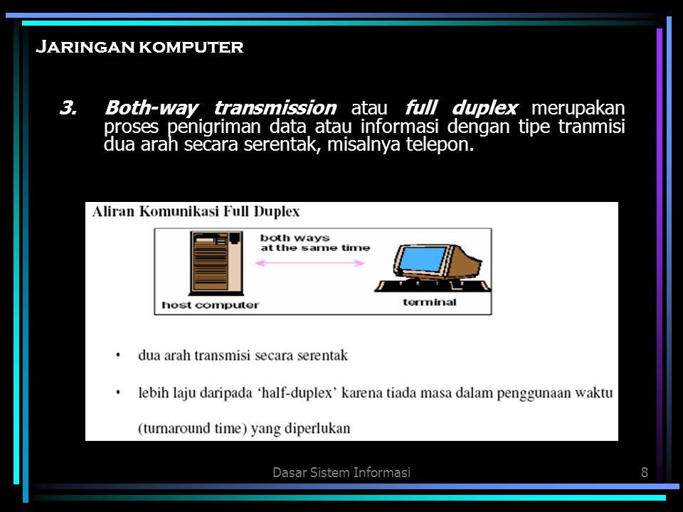 Dasar Sistem Informasi8 3.Both-way transmission atau full duplex merupakan proses penigriman data atau informasi dengan tipe tranmisi dua arah secara