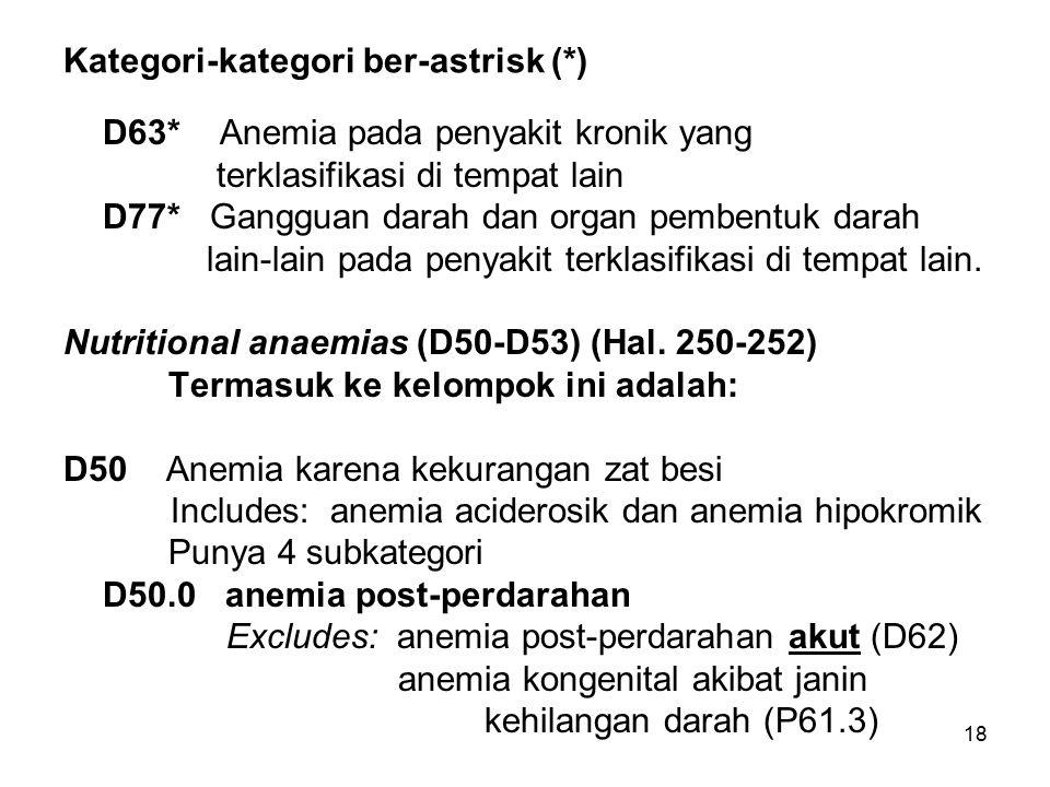 18 Kategori-kategori ber-astrisk (*) D63* Anemia pada penyakit kronik yang terklasifikasi di tempat lain D77* Gangguan darah dan organ pembentuk darah