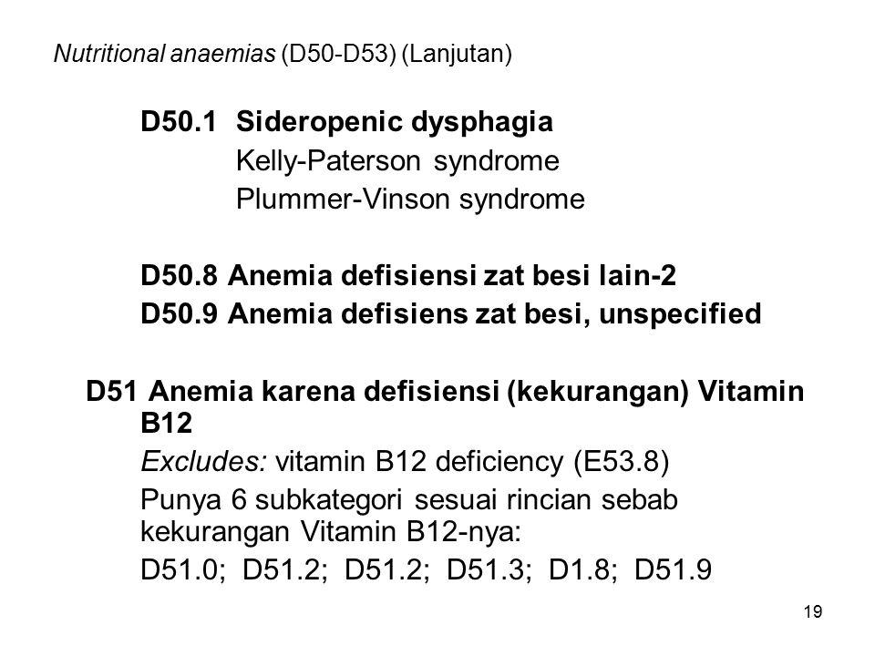 19 Nutritional anaemias (D50-D53) (Lanjutan) D50.1 Sideropenic dysphagia Kelly-Paterson syndrome Plummer-Vinson syndrome D50.8Anemia defisiensi zat be