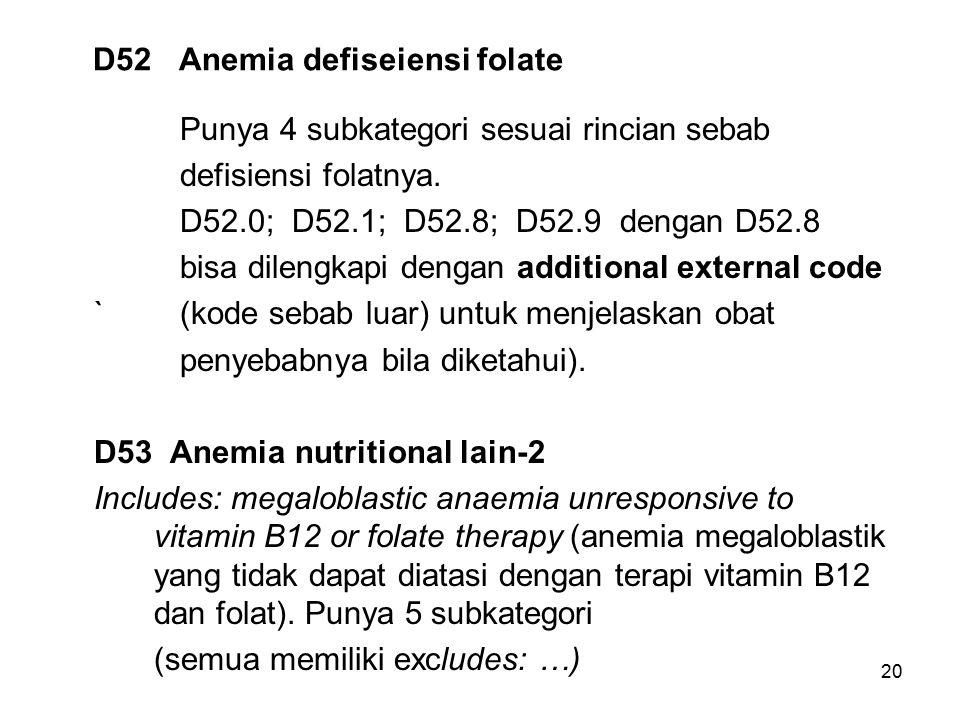 20 D52 Anemia defiseiensi folate Punya 4 subkategori sesuai rincian sebab defisiensi folatnya. D52.0; D52.1; D52.8; D52.9 dengan D52.8 bisa dilengkapi
