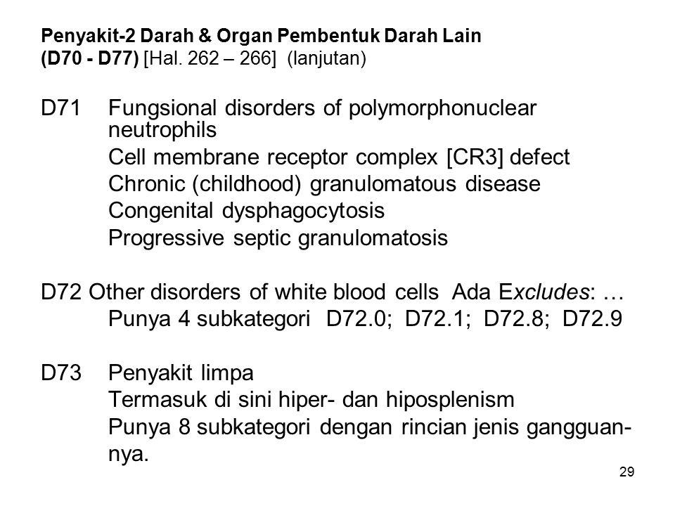29 Penyakit-2 Darah & Organ Pembentuk Darah Lain (D70 - D77) [Hal. 262 – 266] (lanjutan) D71Fungsional disorders of polymorphonuclear neutrophils Cell