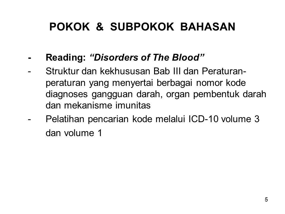"5 POKOK & SUBPOKOK BAHASAN -Reading: ""Disorders of The Blood"" -Struktur dan kekhususan Bab III dan Peraturan- peraturan yang menyertai berbagai nomor"
