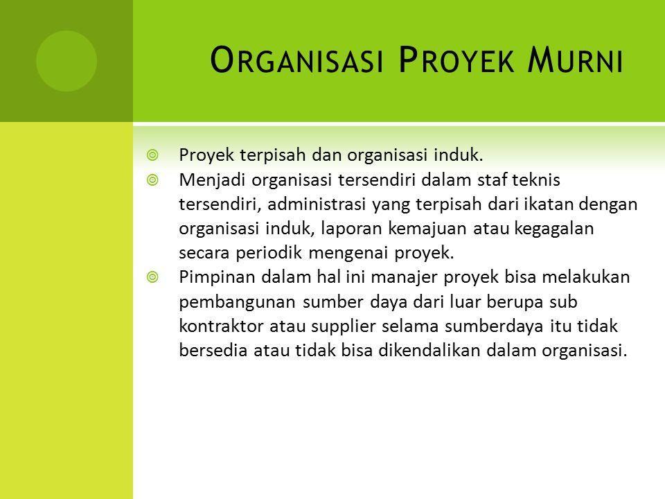 O RGANISASI P ROYEK M URNI  Proyek terpisah dan organisasi induk.  Menjadi organisasi tersendiri dalam staf teknis tersendiri, administrasi yang ter