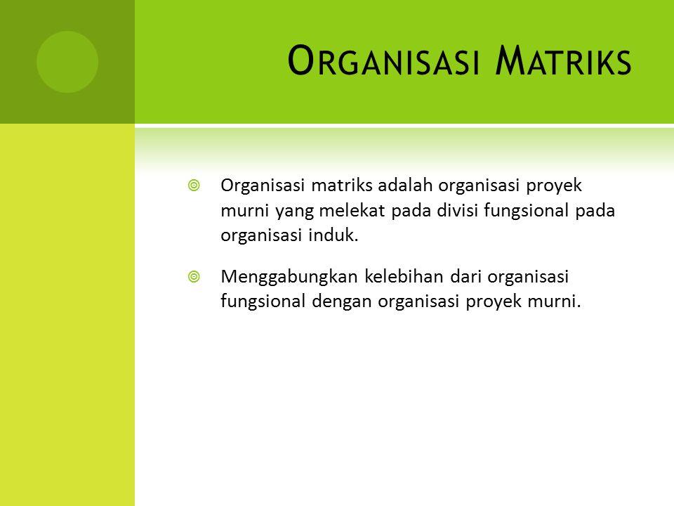 O RGANISASI M ATRIKS  Organisasi matriks adalah organisasi proyek murni yang melekat pada divisi fungsional pada organisasi induk.  Menggabungkan ke