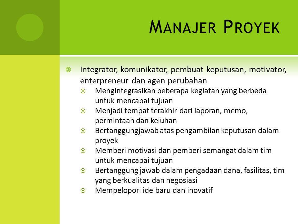 M ANAJER P ROYEK  Integrator, komunikator, pembuat keputusan, motivator, enterpreneur dan agen perubahan  Mengintegrasikan beberapa kegiatan yang be