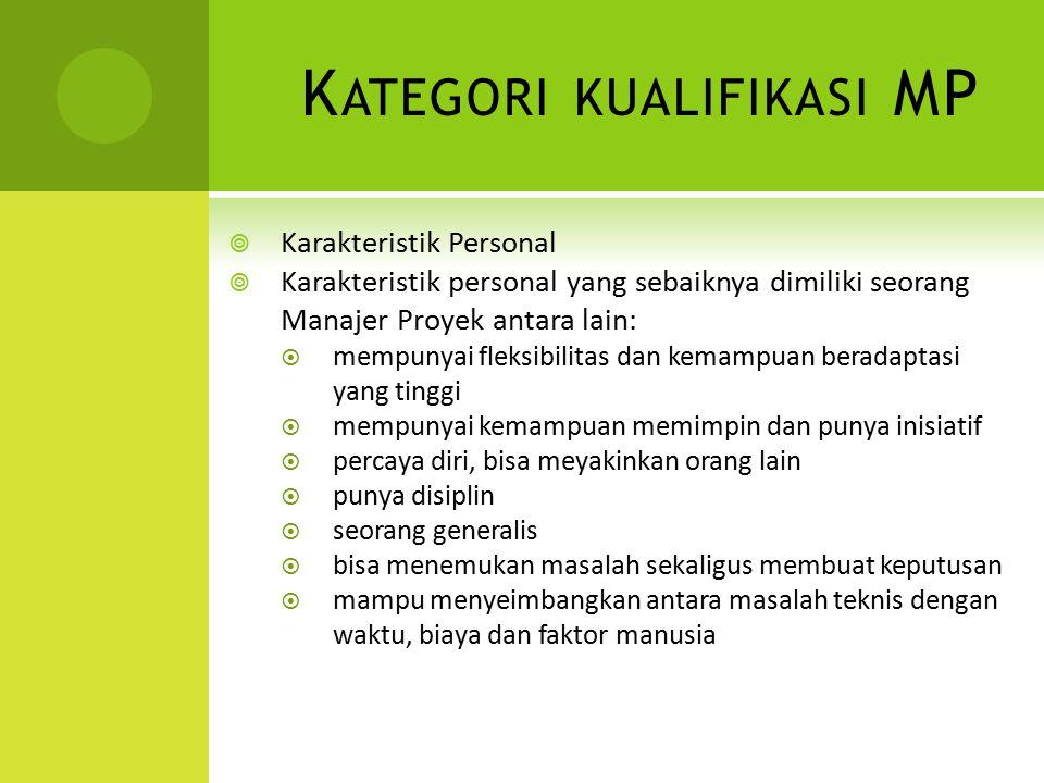 K ATEGORI KUALIFIKASI MP  Karakteristik Personal  Karakteristik personal yang sebaiknya dimiliki seorang Manajer Proyek antara lain:  mempunyai fle
