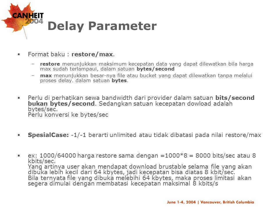 Delay Access  Memberi batasan siapa saja yang boleh mempergunakan delay pools ini.