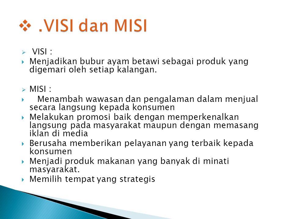  VISI :  Menjadikan bubur ayam betawi sebagai produk yang digemari oleh setiap kalangan.  MISI :  Menambah wawasan dan pengalaman dalam menjual se